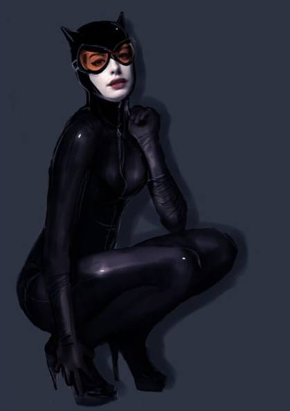 Hathaway might look in the modern Catwoman costume designed by Jim lee