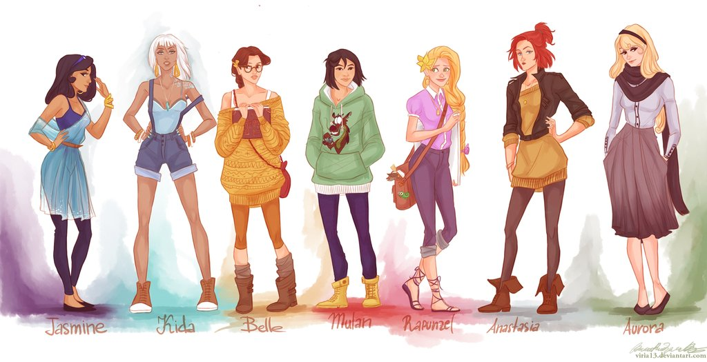 classic disney princesses reimagined as fashionable modern