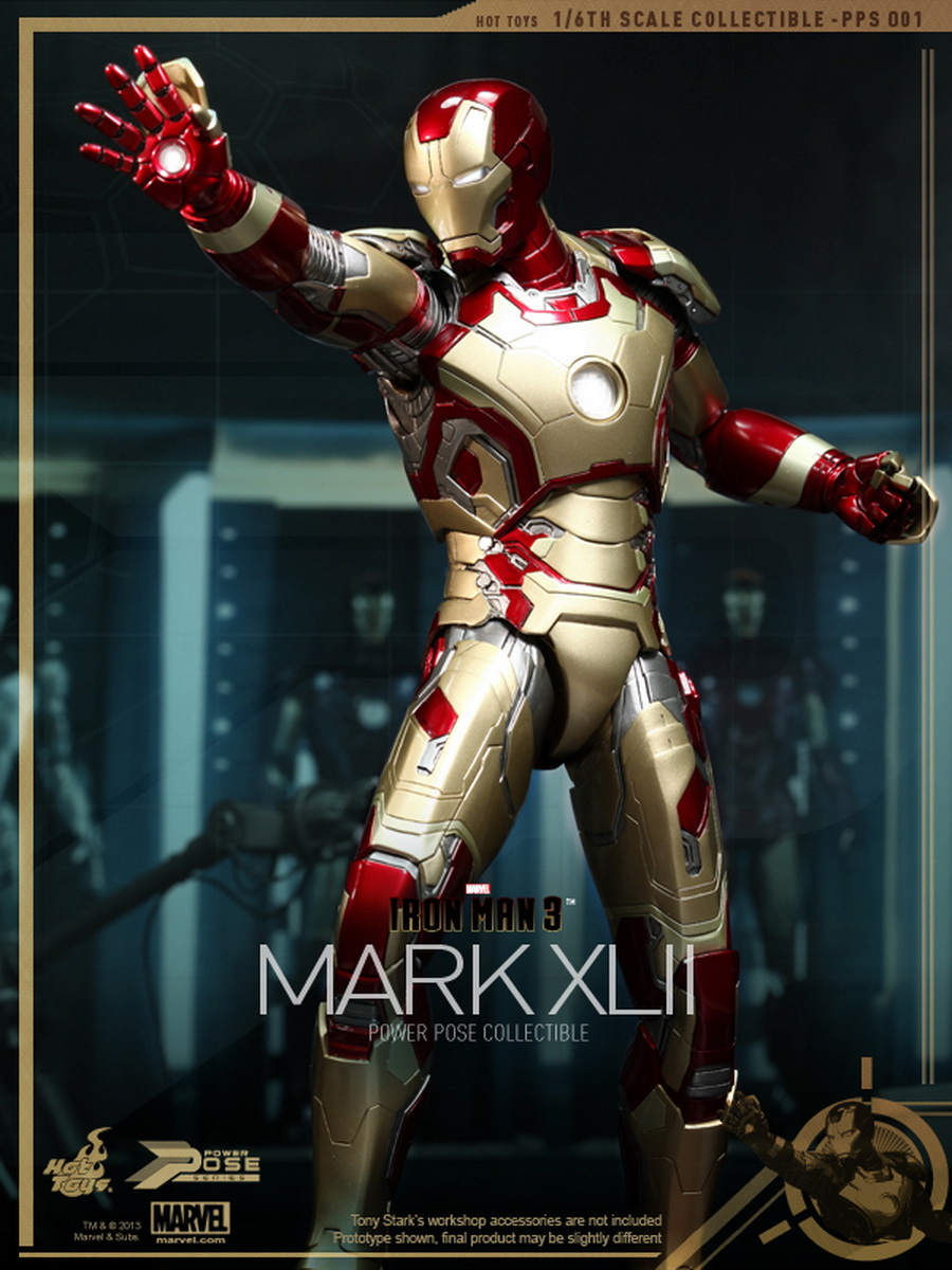hot toys iron man 3 1 6th scale power pose mark xlii. Black Bedroom Furniture Sets. Home Design Ideas