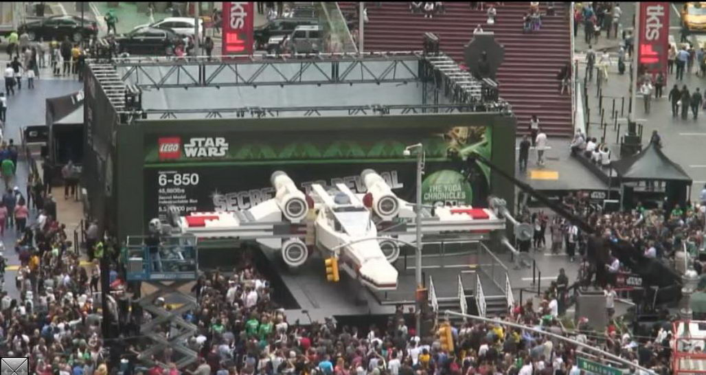 lego unveils lifesize star wars xwing in times square