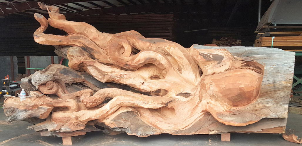 Fallen redwood carved into beautiful octopus youbentmywookie