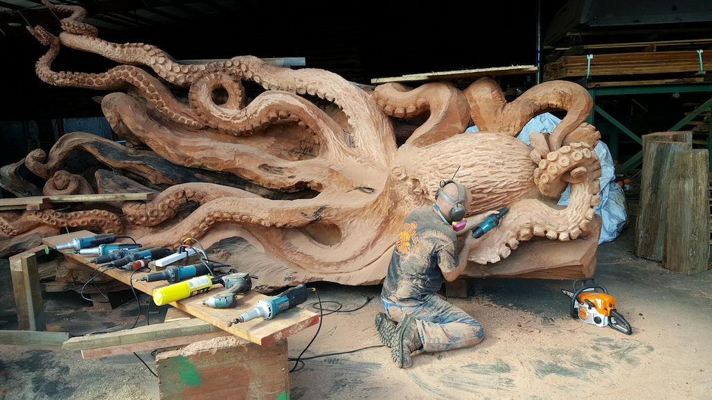 Fallen Redwood Carved Into Beautiful Octopus Ybmw