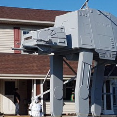 Man Builds 20′ Star Wars AT-AT In Front Yard For Halloween