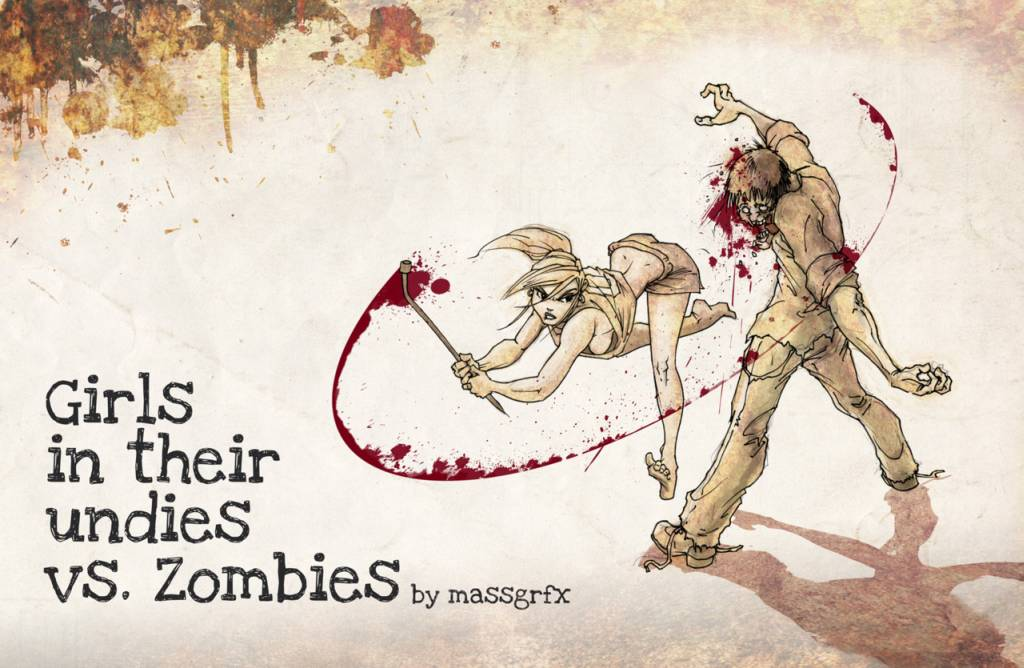 Girls in their undies vs zombies Zombiesandpurses-babes-vs-zombies-massgrfx