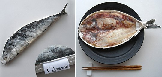 Holy mackerel creepy japanese split fish pencil case for Fish pencil case