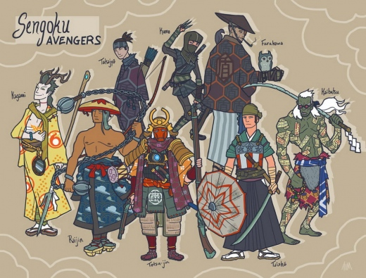 sengoku_avengers__full_roster_by_genesischant-d5cnee1.jpg