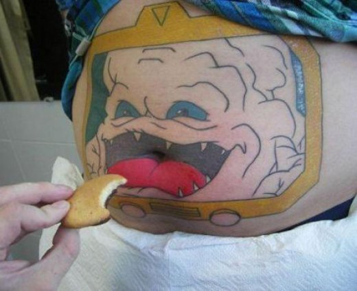 TMNT Krang Stomach Tattoo