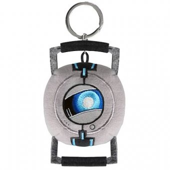 Crowded coop portal 2 companion cube and Wheatley plush keychains.jpg